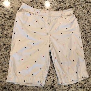 White Talbots Heritage Polka Dot Bermuda Shorts